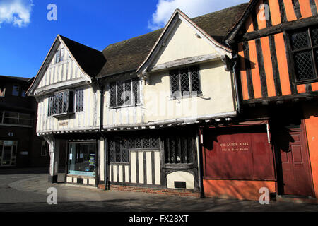 Historic half-timbered Tudor buildings in town centre, Silent Street, Ipswich, England, UK - Stock Photo