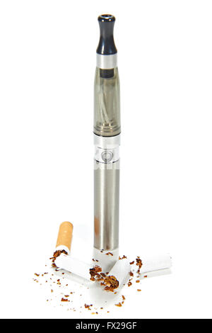 Electronic cigarette with broken real cigarettes around it - Stock Photo