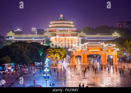 CHONGQING, CHINA - JUNE 1, 2014: Crowds at the Great Hall of the People and People's Square. - Stock Photo