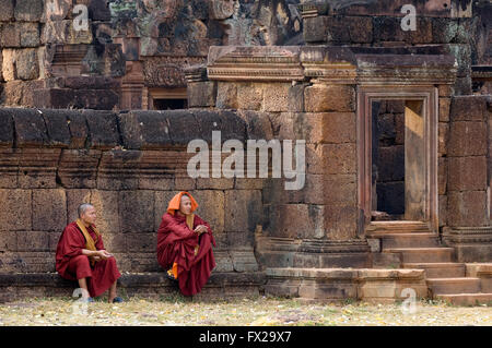 Monks in front of the Banteay Prei Temple, Angkor, Siem Reap, Cambodia, UNESCO World Heritage Site - Stock Photo