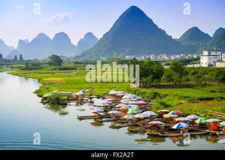 Yangshuo, China on the Li River. - Stock Photo