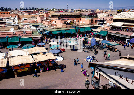 General view of the Jemaa el Fna - the main market square in old Marrakech, Morocco, North Africa - Stock Photo