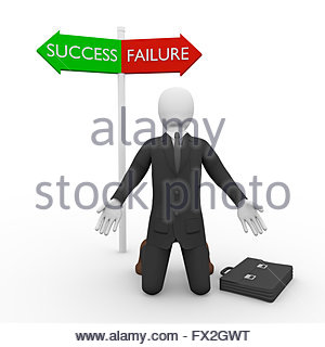 Puzzled businessman on knees against of two signs of Failure and Success - Stock Photo