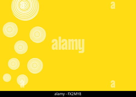 yellow background with white circles - Stock Photo