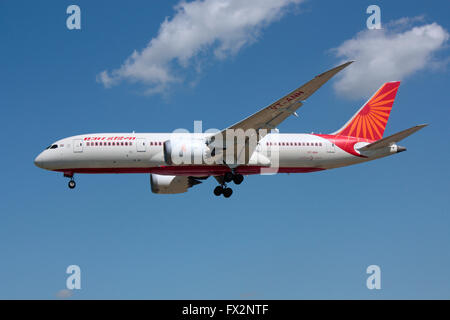 Air India Boeing 787 Dreamliner long haul jet plane on approach - Stock Photo