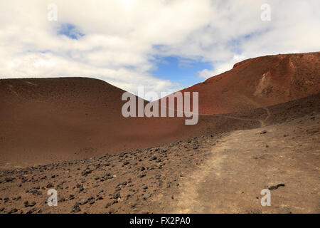 Landscape of volcanic hills on Faial Island, Azores, Portugal - Stock Photo
