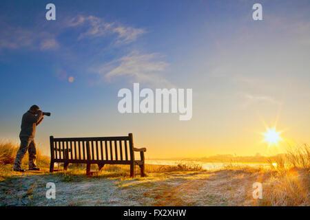 Marshside nature reserve, Southport, Lancashire, UK. 10th April, 2016. UK Weather. Sunrise over Lancashire 10th - Stock Photo