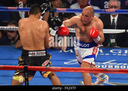 Las Vegas, Nevada, USA. 9th April, 2016. Arthur Abraham (Berlin, Germany) throws a punch during the Abraham vs. - Stock Photo