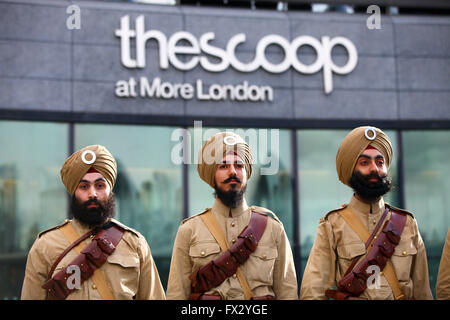 City Hall, London, UK. 9 April 2016. Actors in the uniform of the 15th Sikh Regiment, who fought in the First World - Stock Photo