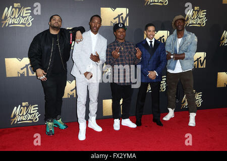 Burbank, Los Angeles, USA. 9th April, 2016. Actors O'Shea Jackson Jr., Corey Hawkins, recording artist Common, actors - Stock Photo