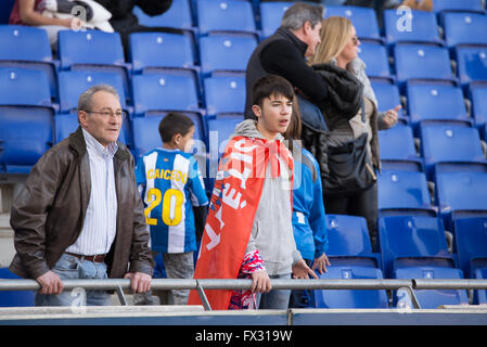 Barcelona, Spain. 9th April, 2016. Fans at the La Liga match between RCD Espanyol and Atletico de Madrid at the - Stock Photo
