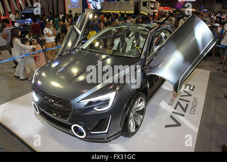 Pasay City. 10th Apr, 2016. Photo taken on April 10, 2016 shows a Subaru concept car during the Manila International - Stock Photo