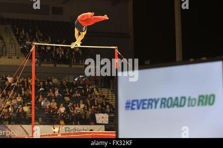 Liverpool, UK. 10th April, 2016. #everyroadtorio and the high bar. British Gymnastics Championships 2016. Echo Arena. - Stock Photo