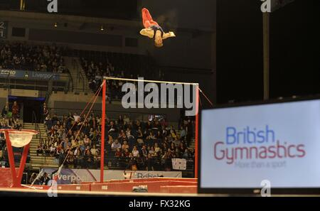 Liverpool, UK. 10th April, 2016. British Gymnasics and the high bar. British Gymnastics Championships 2016. Echo - Stock Photo