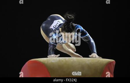 Liverpool, UK. 10th April, 2016. Claudia Fragapane. Vault. Womens Artistic Gymnastics. British Gymnastics Championships - Stock Photo