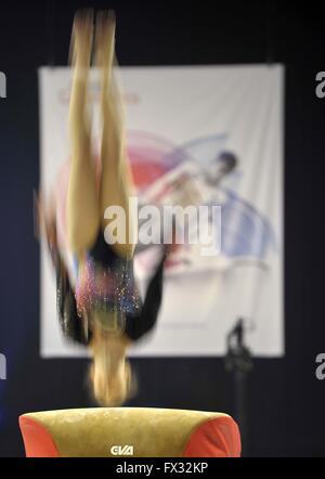 Liverpool, UK. 10th April, 2016. Vault. Action blur. Womens Artistic Gymnastics. British Gymnastics Championships - Stock Photo