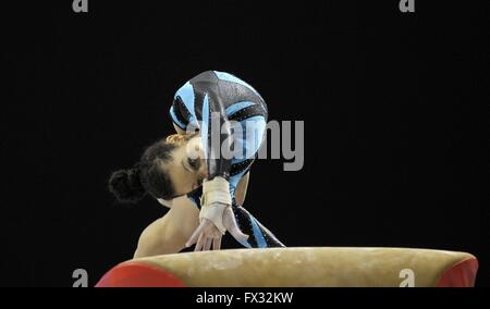 Liverpool, UK. 10th April, 2016. Jessica Coombs. Vault. Womens Artistic Gymnastics. British Gymnastics Championships - Stock Photo