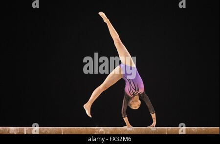 Liverpool, UK. 10th April, 2016. Shannon Archer. Beam. Womens Artistic Gymnastics. British Gymnastics Championships - Stock Photo