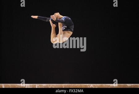 Liverpool, UK. 10th April, 2016. Claudia Fragapane. Beam. Womens Artistic Gymnastics. British Gymnastics Championships - Stock Photo