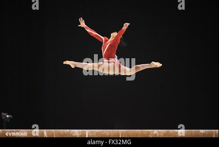 Liverpool, UK. 10th April, 2016. Rebecca Downie. Beam. Womens Artistic Gymnastics. British Gymnastics Championships - Stock Photo