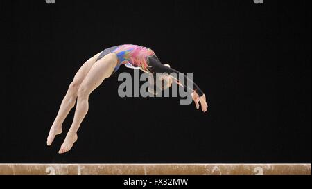 Liverpool, UK. 10th April, 2016. Phoebe Turner. Beam. Womens Artistic Gymnastics. British Gymnastics Championships - Stock Photo