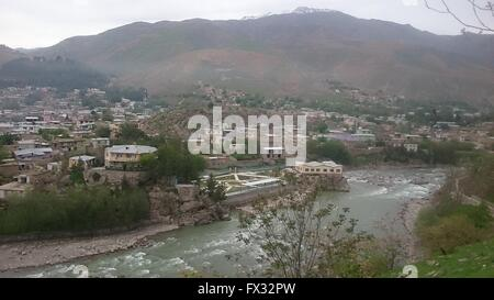 Badakhshan. 10th Apr, 2016. Photo taken on April 10, 2016 shows the view of Badakhshan city, north of Afghanistan, - Stock Photo