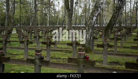 Warsaw, Poland. 10th Apr, 2016. Powazki Military Cemetery in Warsaw © Mateusz Wlodarczyk/Pacific Press/Alamy Live - Stock Photo