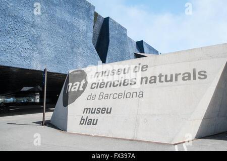 Entrance to Museu Blau,Blue Museum,Port Forum area,Barcelona,Catalonia,Spain,Europe. - Stock Photo