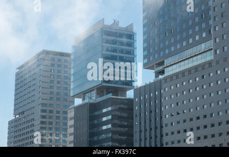 Sea mist rolling in, in Diagonal Mar district of Port Forum,Barcelona,Catalonia,Spain,Europe. Hilton Hotel,on left, - Stock Photo