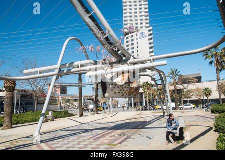 Tubular Structures in Parc Diagonal Mar, Barcelona, Spain - Stock Photo