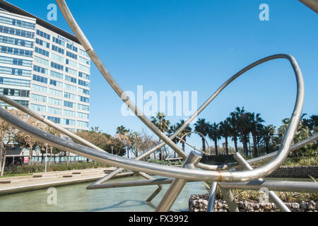 Tubular Structures in Parc,Park Diagonal Mar, Barcelona, Spain - Stock Photo