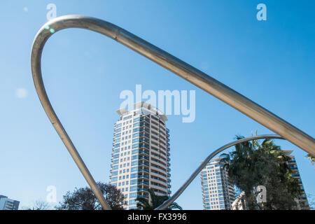 Tubular Structures in Parc,Park Diagonal Mar, Barcelona, Spain.Barcelona,Catalonia,Spain,Europe. - Stock Photo