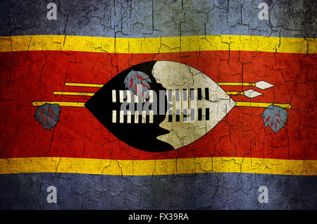 Swaziland flag on an old cracked wall - Stock Photo