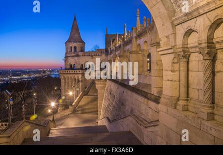 North Gate of Fisherman's Bastion in Budapest, Hungary Illuminated at Dawn - Stock Photo