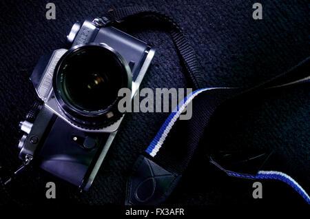 Braun Camera, an Single Lens Reflex, manual  camera  with shutter speed, still using film - Stock Photo