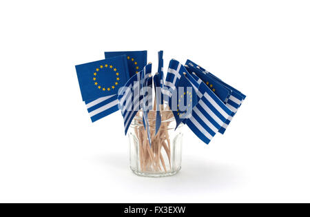 Little European and Greek flags - Stock Photo