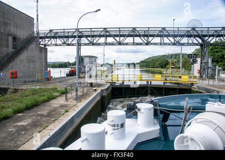 Lock on the Rhine River Gates Opening near Miltenberg - Stock Photo