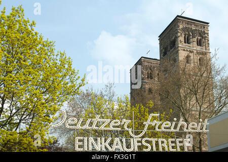 Köln, Deutz, Deutzer Freiheit mit Kirche Neu St. Heribert - Stock Photo