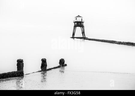 Black and white landscapes: Dovercourt's Victorian lighthouse, Essex, UK - Stock Photo
