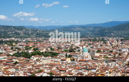 Florence, Italy cityscape showing the surrounding hills and the blue-domed Great Synagogue of Florence, or Tempio - Stock Photo