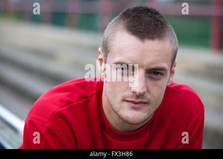 28/11/11  England football star Jamie Vardy pictured in 2011 when he was playing for  Fleetwood FC - Stock Photo