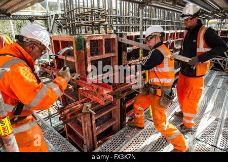 Scaffolders at work during Borders Railway Construction - Stock Photo
