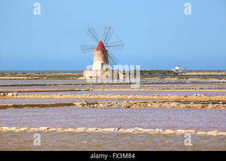 Salt Mills, Marsala, Mozia, Sicily, Italy - Stock Photo