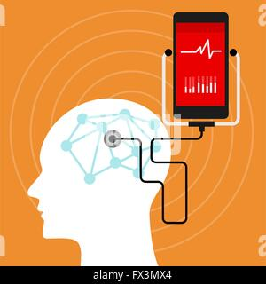 mental brain health monitoring mobile phone - Stock Photo