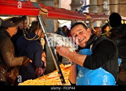 In Mercato di Rialto, the traditional market close to the famous bridge, Sestiere di San Polo, Venezia (Venice), - Stock Photo