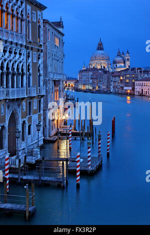 Night falling on the Grand Canal, Venice, Italy. View from Ponte dell'Accademia. In the background, Santa Maria - Stock Photo