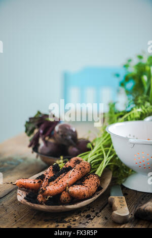 Farm fresh local market vegetables on farmhouse wooden table in sunny kitchen. Home cooking and produce concept. - Stock Photo