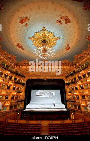 Inside Gran Teatro La Fenice, Sestiere di San Marco ('district of St Mark), Venezia (Venice), Italy. - Stock Photo