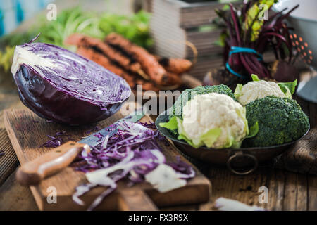 Farm fresh vegetables from local market in suuny  kitchen. Negative space for text. - Stock Photo