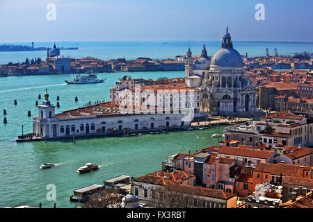 View of the 'exit' of the Grand Canal from the Campanile (bell tower) of San Marco, Venice, Veneto, Italy. - Stock Photo